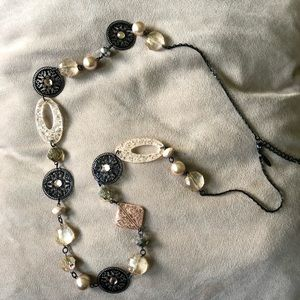 Jewelry - Long strand pearl, bead, and gemstone necklace